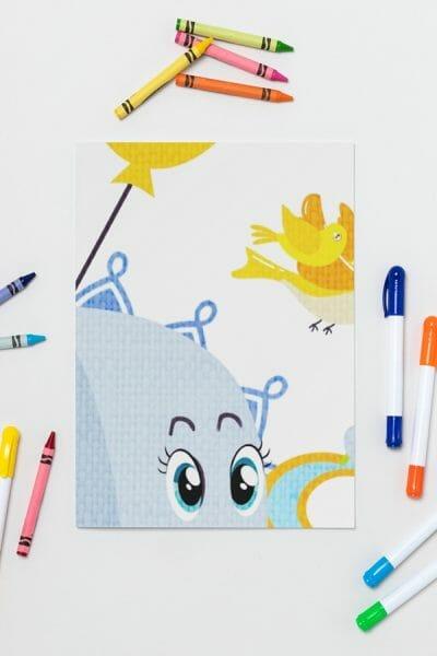 Whimsical-Art-Print-featuring-Eddie-Fly-High-Elephant-by-Poetic-Pastries-Studio-artist-Pansylee-VanMeteren-aka-Muse-shown-eyes-and-wings