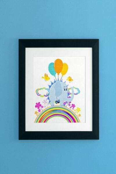 Whimsical-Art-Print-featuring-Eddie-Fly-High-Elephant-by-Poetic-Pastries-Studio-artist-Pansylee-VanMeteren-aka-Muse-wall-art-use-shown-SHOP-wall-print