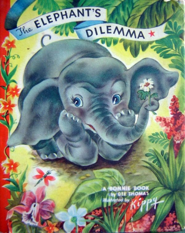 antique-book-about-little-elphant-with-a-problem-inspiration-for-Poetic-Pastries-animal-wall-print
